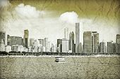 Graphic Design: Retro Picture Of Downtown Chicago poster