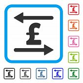 Pound Transactions icon. Flat gray iconic symbol in a light blue rounded rectangle. Black, gray, green, blue, red, orange color variants of Pound Transactions vector. poster