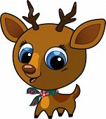 Vector illustration of a brown cute fashion deer with a scarf on his neck poster