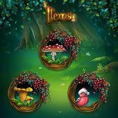 Set of different items for game user interface. Vector background illustration screen to the computer game Shadowy forest GUI. Background image to create original video or web games graphic design screen savers. poster