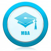 Mba blue chrome silver metallic border web icon. Round button for internet and mobile phone application designers. poster