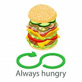 Always hungry icon. Isometric illustration of always hungry vector icon for web poster