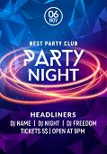 Night dance party music night poster template. Electro style concert disco club party event flyer invitation. poster