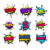 wtf shit meow woof loser set lettering. Comics book balloon. Bubble icon speech pop art phrase. Cartoon font label tag expression. Comic text sound effects. Vector illustration. poster