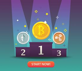 Cryptocurrency coins. Bitcoins and virtual money concept. Flat modern design concept of crypto currency technology. Banner for Cryptocurrency Market, Hosting Company, Mobile banking. Vector illustration
