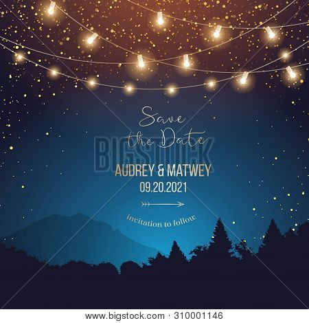 Magic Night Wedding Lights Vector Design Invitation. Party Hanging Lamp Garlands. Landscape Teal And