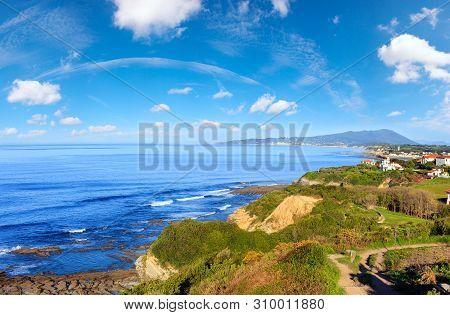 Morning Ocean Coast View From Shore (near Saint-jean-de-luz, France, Bay Of Biscay). Multi Shots Sti