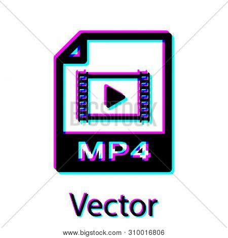 Black Mp4 File Document Icon. Download Mp4 Button Icon Isolated On White Background. Mp4 File Symbol