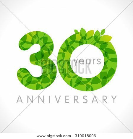 30 Th Anniversary Numbers. 30 Years Old Logotype. Age Congrats, Congratulation Idea With Leaves. Iso