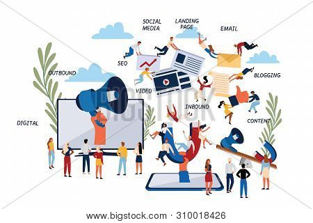 Business Concept Of Inbound And Outbound Digital Marketing.