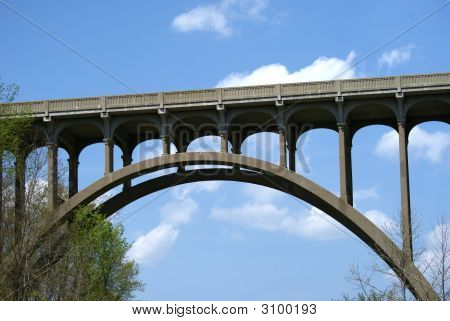 A tressel bridge over the Cuyahoga River in Northeast Ohio. poster