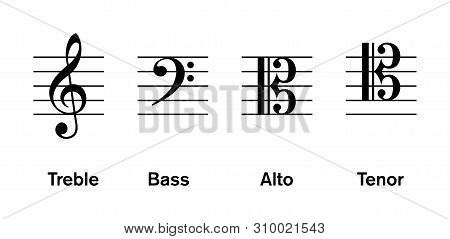 Most Common Clefs, Regulatory Used In Modern Music. Treble And Bass Clef Are Most Common, Followed B