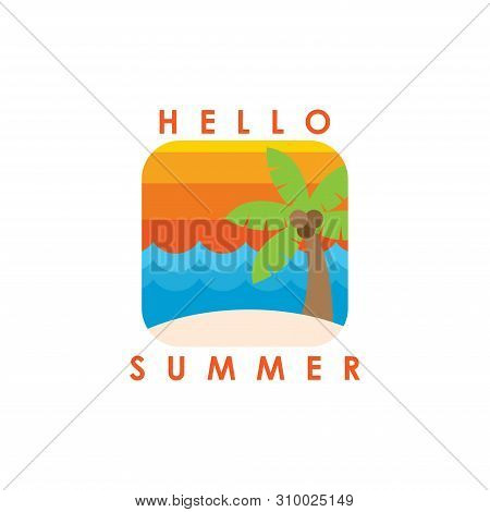 Hello Summer. Summer Season. Summer. Summer Time. Happy Summer. Summer Day. Summer Design. Summer Vector. Summer Text. Summer Lettering. Summer Art,EPS10. Summer Background. Summer Time. Summer Icon, Summer Illustration. Summer Holidays