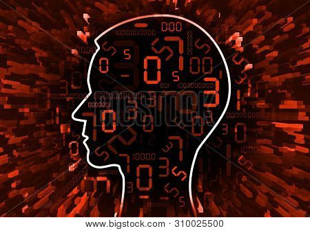 Human Head And Stream Of Red Digital Numbers.  Illustration Of Stylized Male Head With Red Numbers S