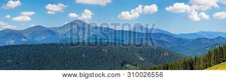 Summer Chornohora Mountain Ridge View From Vesnjarka Plateau (carpathian, Ukraine). High-resolution