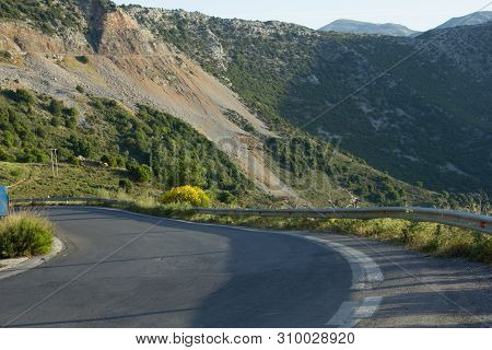 Turn Of The Mountain Road, Crete, Greece