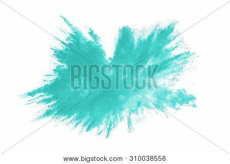 Green Dust Splash.green Color Powder Explosion Cloud On White Background.