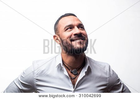Happy Man Smiling. Isolated On White. Confidence Charisma. Beard Care Of Unshaven Man. Macho Man In