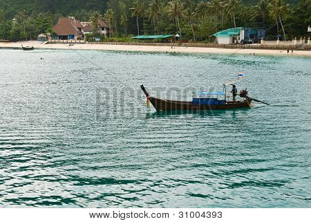 Boat On  The Sea At  Thailand