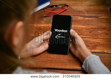 Stavropol, Russian Federation. July 5, 2019. A Man Holding A Smartphone On Which Opens A Mobile Appl