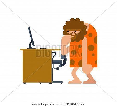 Caveman And Pc. Prehistoric Man And Computer. Ancient Man Think