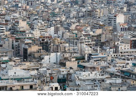 Athens, Greece - February 11, 2019: Residential Area Of Central Athens As Seen From Filopappou Hill.