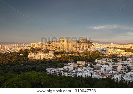 View Of Athens And Acropolis From Filopappou Hill.