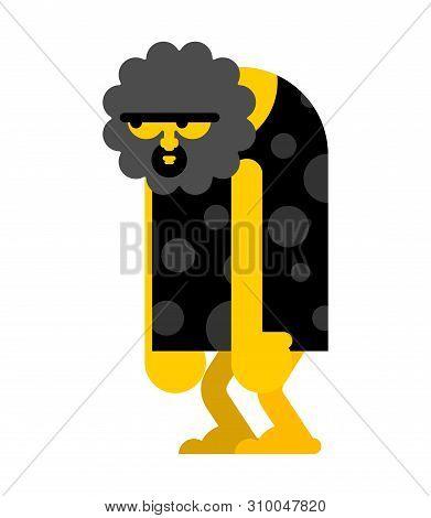 Caveman Stupid Isolated. Prehistoric Man Blunt. Ancient Man Think