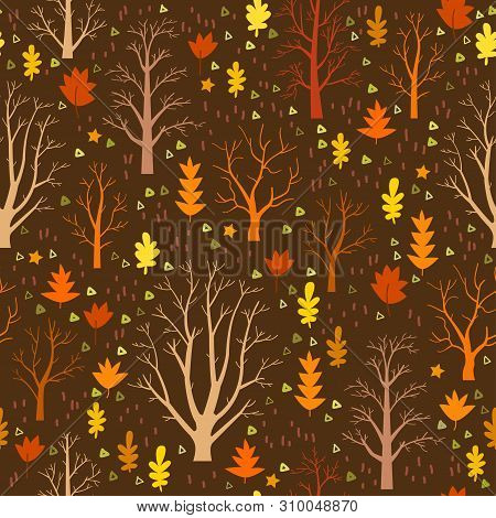 Autumn Forest Trees Pattern. A Woodland Background
