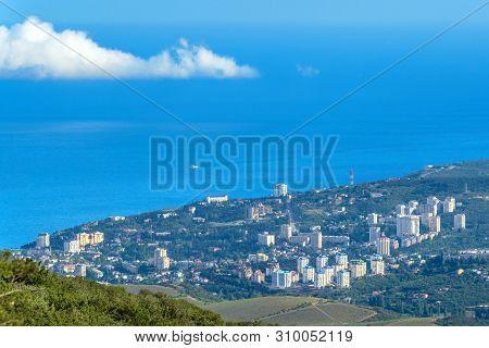 Resort City Of Alushta From Above, Crimea, Russia. Aerial Scenic View Of Alushta. Landscape Of Crime