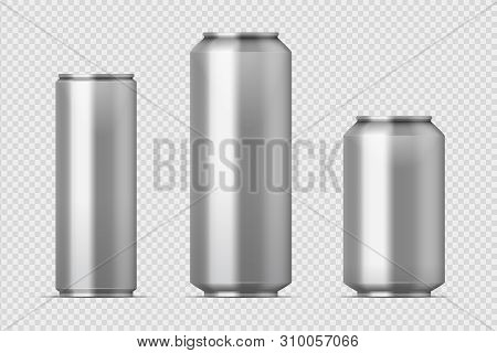Beer Can Mockup. Realistic Aluminum Metal Can For Soda, Different Types Of Blank Can With Copy Space