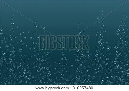 Bubbles Underwater Texture. Fizzy Sparkles In Water, Sea, Aquarium, Ocean. Vector Illustration Soda