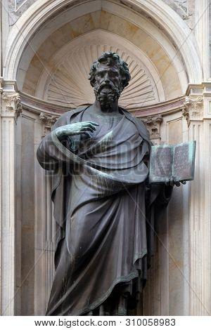 FLORENCE, ITALY - JANUARY 09, 2019: Saint Matthew the Evangelist by Lorenzo Ghiberti, Orsanmichele Church in Florence, Tuscany, Italy