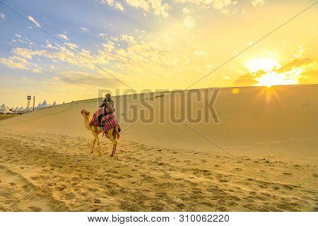 Desert Safari In Qatar. Traveler Man Ride A Camel On Sand Dunes Of Beach At Khor Al Udaid In Persian