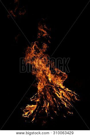Fire Flames On Black Background. Solitary Flame Burning In Splinters In The Night Cold Ground