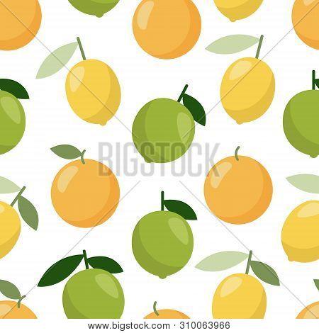 Lime Orange Lemon Pattern, Great Design, Web, Print. Fruit Food. Seamless Vector Texture.