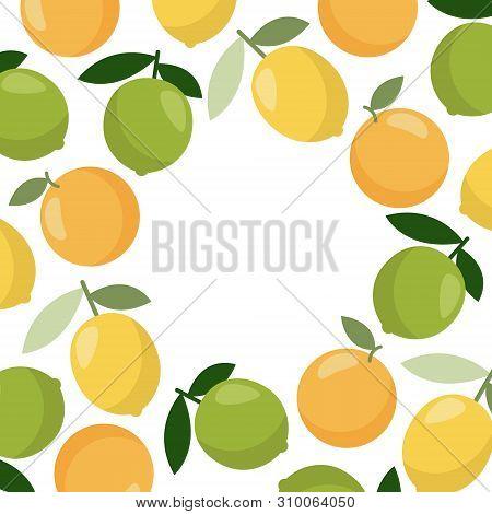 Bright Vector Border, Frame. Lemon Vector Illustration Template.