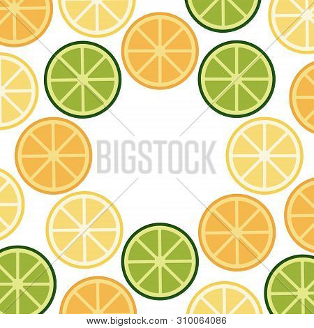 Green Yellow Orange Citrus Frame. Flat Colorful Fruit Vector Illustration