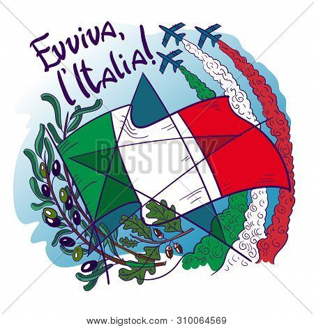 Logo Contains Symbols Of Italy- Frecce Tricolori Tricolour Arrows In The Sky, Olive Branch, Oak, Fla