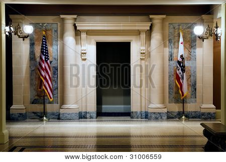 Two Flags In Hallway