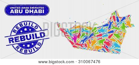 Assemble Abu Dhabi Emirate Map And Blue Rebuild Textured Seal Stamp. Bright Vector Abu Dhabi Emirate