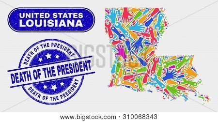 Service Louisiana State Map And Blue Death Of The President Textured Seal Stamp. Colorful Vector Lou