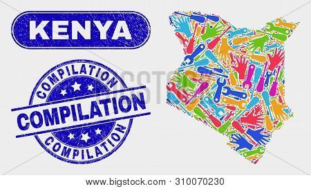 Construction Kenya Map And Blue Compilation Scratched Seal Stamp. Bright Vector Kenya Map Mosaic Of