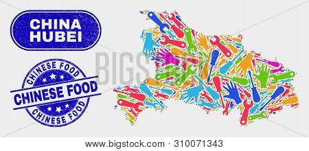 Tools Hubei Province Map And Blue Chinese Food Grunge Seal Stamp. Bright Vector Hubei Province Map M