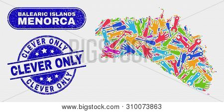 Industrial Menorca Island Map And Blue Clever Only Grunge Seal Stamp. Colorful Vector Menorca Island