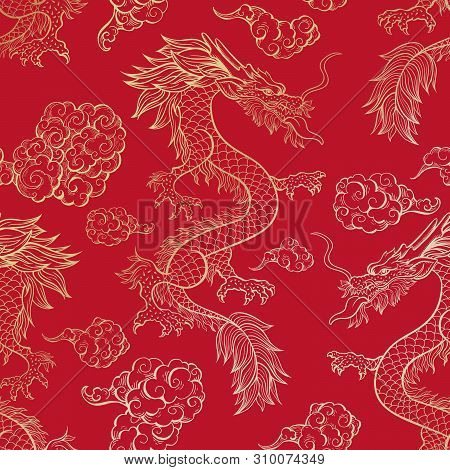 Oriental Dragon Flying In Clouds Seamless Pattern. Traditional Chinese Mythological Animal Hand Draw