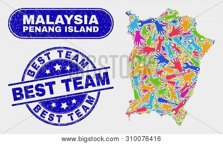Production Penang Island Map And Blue Best Team Textured Seal Stamp. Colored Vector Penang Island Ma