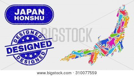 Tools Honshu Island Map And Blue Designed Grunge Seal Stamp. Colored Vector Honshu Island Map Mosaic