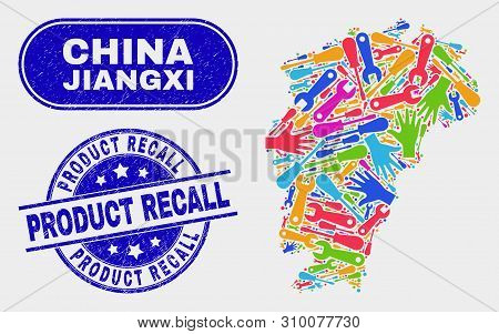 Productivity Jiangxi Province Map And Blue Product Recall Grunge Seal. Bright Vector Jiangxi Provinc