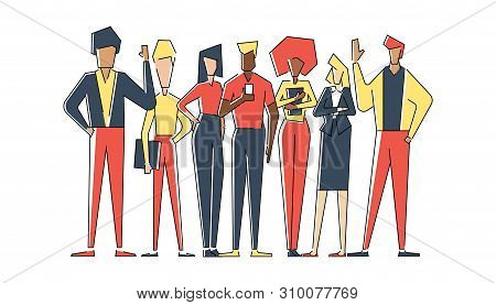 Flat Linear Geometric Illustration Of Group People For Business. Business People Hold Phone And Fold
